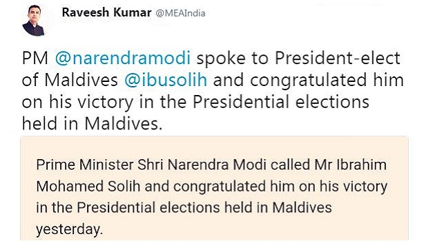 India was among one of the first countries to congratulate Solih