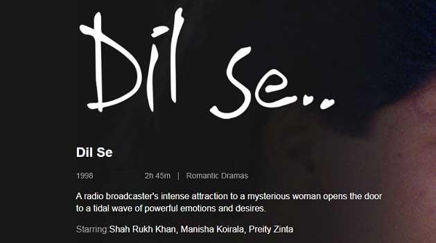 Dil Se Indian Movie romance thriller